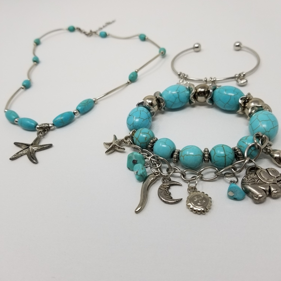 Turquoise and Oceanic Themed Bracelets & Necklace